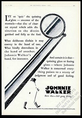 1928 Johnnie Walker Scotch Whisky character monocle art vintage print ad