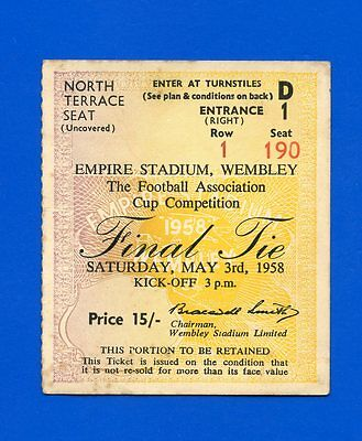 Bolton Wanderers v Manchester United FA Cup Final 1958 TICKET - POSTFREE to UK