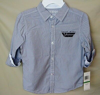 GUESS 100% Cotton Roll SleeveButton Front Light Gray StripeShirt BOY SIZE 3T NWT