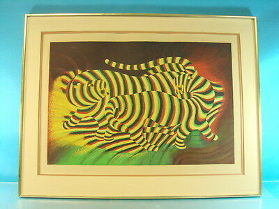 Trippy Rainbow Tiger Wall Art Framed Matted Print Signed Unknown Artist 4/46