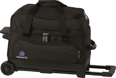 Ebonite Transport 2 Ball Roller Bowling Bag with Wheels Color is Black