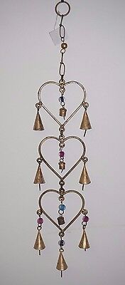 Hearts 3 Iron Rustic wind chime Chime garden decor hanging beads bell love