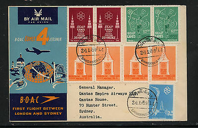 Thailand  nice franking first flight cover to Australia  1959       KL1114