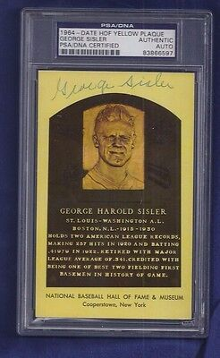 George Sisler Baseball HOFer Autographed Plaque Postcard PSA Slabbed dec 1973