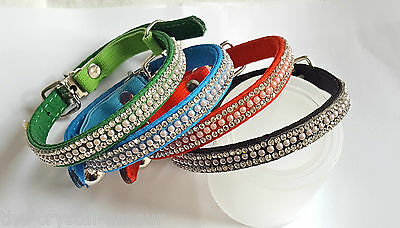 "Crystal & Pearl, Safety Elastic Cat Collar 8-11"", Green, Blue, Black & Red"