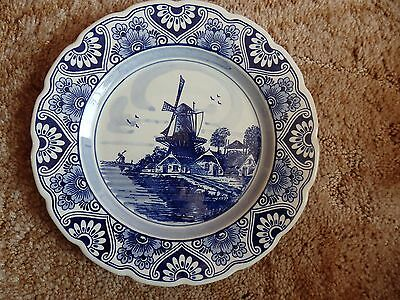 Old Vintage Delft Blue Handpainted Wall Plate 130021 Blue Crown Holland
