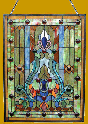 """LAST ONE THIS PRICE Victorian Tiffany Style Stained Glass Window Panel 19"""" X 25"""""""