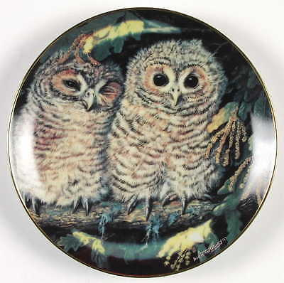Danbury Mint BABY OWL COLLECTION 1988 Tawny Owls 63295