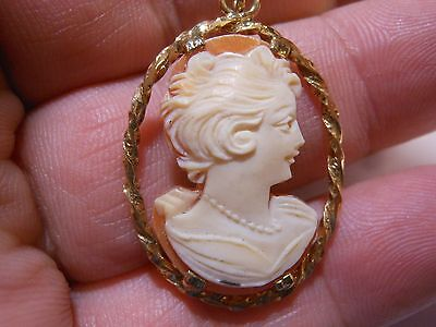 Vintage Carved Shell Cameo Pretty Woman NECKLACE GoldFilled Mint Unused Old