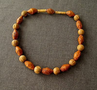 Antique Hediao Carved Nut Chinese Zodiac 12 Animals Beads & Wooden Necklace