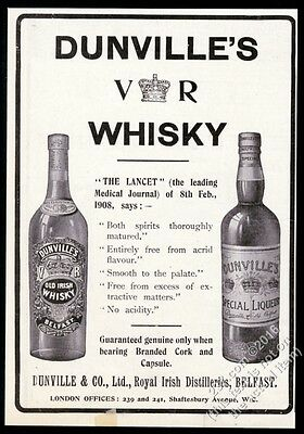 1910 Dunville's Old Irish Whisky & Special Liqueur 2 bottle photo print ad
