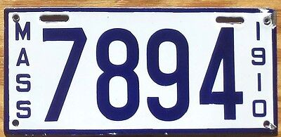 1910 Massachusetts License Plate Number Tag – Porcelain