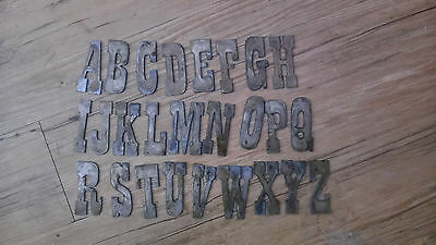 3 inch Rough Rusty Metal Vintage Western Style Complete Alphabet Letters Crafts