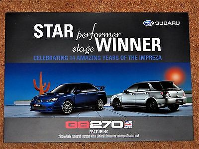 2007 SUBARU IMPREZA GB270 Saloon & Wagon Sales Brochure - NEW OLD STOCK Mint
