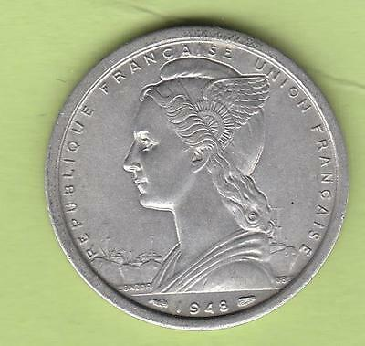 1948 Saint Pierre & Miquelon 2 Francs, One Year Type, Low mintage, hard to find!