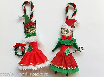CHRISTMAS kitty CAT duo girl vintage style chenille ORNAMENTS set of 2