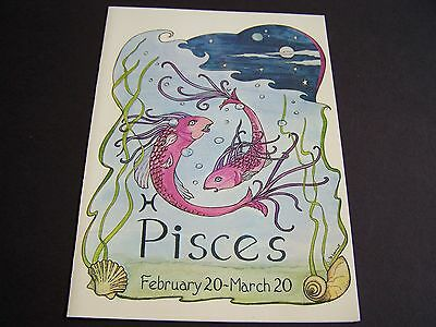 NEW Unused Vtg PISCES Horoscope Sign GREETING CARD Zodiac Feb 20 - March 20