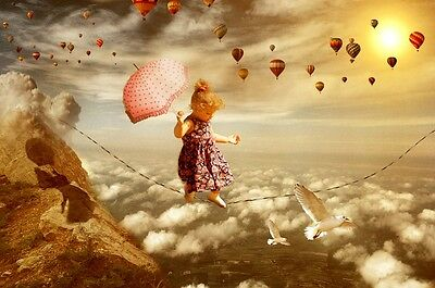 "perfect oil painting handpainted on canvas""a little girl,birds,balloons ""@2130"