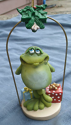 Toad with Presents & Mistletoe Ornament,Russ,Artist Doug Harris -yule,christmas