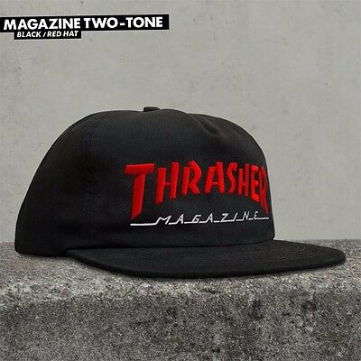 061797a7abb Thrasher Magazine TWO TONE SKATE MAG LOGO Snapback Skateboard Hat BLACK RED