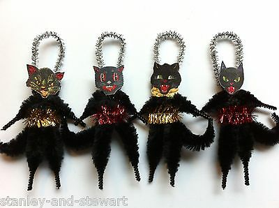 Halloween BLACK CATS with belts vintage style chenille cat ORNAMENTS set of 4