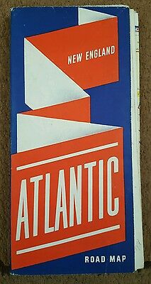 Vintage 1940's ATLANTIC Refining Company ROAD MAP of NEW ENGLAND Maine