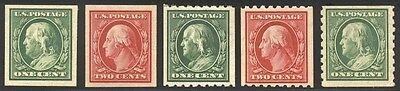 US #383-4 & #390-2 MNH 1910+ S/L Wmk Imperforate & Perforated 8.5 [as shown]