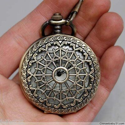 Work CHINESE OLD BRASS Hollow pocket watch WITH CHAIN gg233