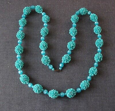 Vintage Nice Color Turquoise Green Sugar Flower & Moonglow Lucite Large Necklace
