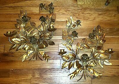 Vintage Italian Tole Rose Candle Sconces VERY PRETTY