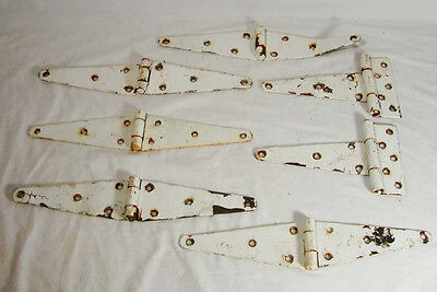 7 Antique Barn Large Vintage Door Shed Gate Hinges ~ Chippy White Paint