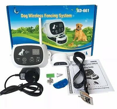 NEW 2 Dogs Wireless Electronic Dog Fence KD-661 2-Collars*NO WIRES TO BURY*KD661