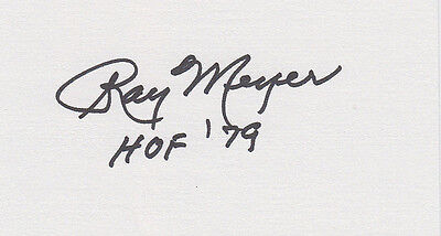 Coach Ray Meyer HOF 1979 DePaul SIGNED 3x5 CARD Hall of Fame autographed