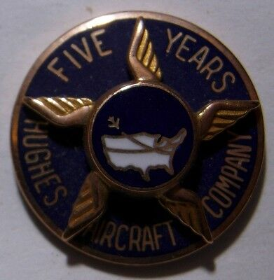 10K Gold Hughes Aircraft Company 5 Year Service Pin - Screwback