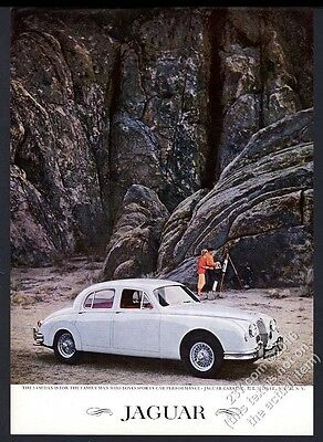 1959 Jaguar 3.4 sedan white car cliffs color photo vintage print ad