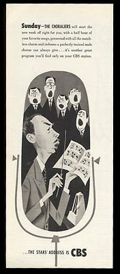 1950 CBS Radio The Choraliers show vintage print ad