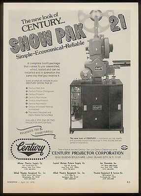 1976 Century movie theatre projector trade print ad