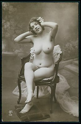 French nude woman usty Big Breats seated on chair oldc1910-1920s photo postcard