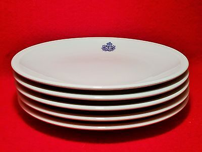 5 ROYAL VANCOUVER YACHT CLUB luncheon plate vtg pacific sailing boating art blue