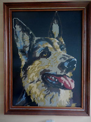 Tapestry Craft Picture Completed Framed German Sheppard Alsatian Dog 45 X 34 Cm