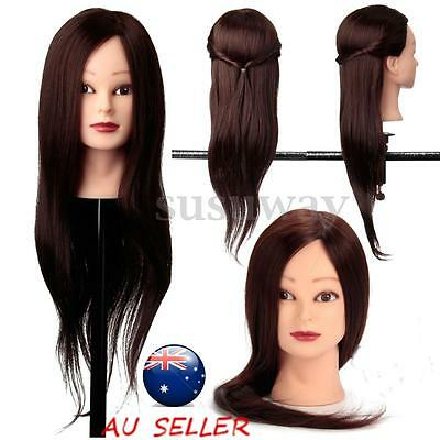 22'' 100% Real Human Hair Hairdressing Training Head Clamp Doll Mannequin Model