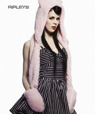 HELL BUNNY Kitty GLOVES Long SHAGGY HAT Scarf Goth Emo PINK