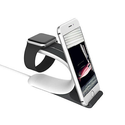 Durable 2 In 1 Charging Dock Stand Holder Mount For Apple iWatch iPhone 7 8 Plus