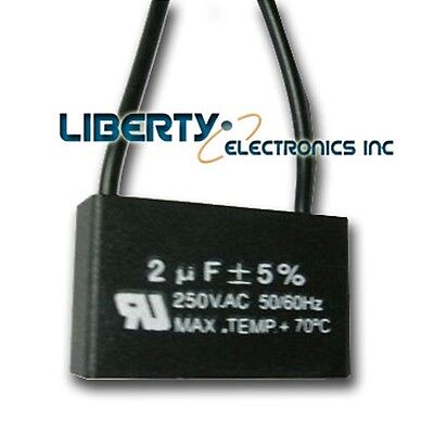 2 (two) NEW MOTOR CAPACITOR 2 uF ± 5% 250 VAC 50/60 Hz.