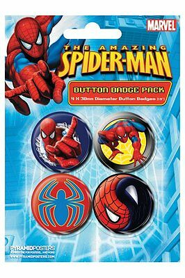 Button Badge 4er Pack The AMAZING SPIDER-MAN - 38mm  NEU BP80236