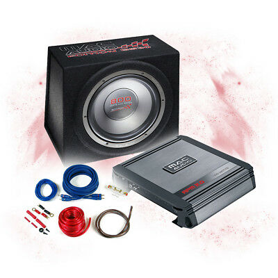 MAC AUDIO Komplettanlage Endstufe+Edition BS 30 Bassbox+Kabel Set - 800W MAX-BP4