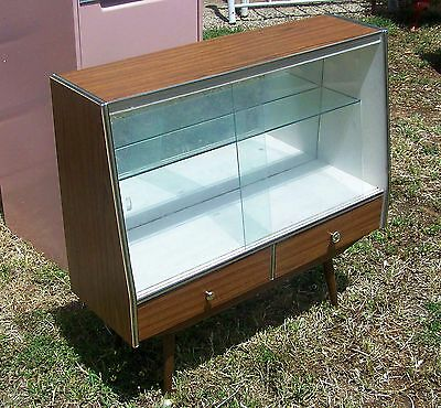 Vintage Retro Mirror Display Cabinet Sideboard 2 Storage Drawers Glass Doors