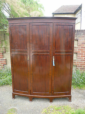 Very Very Nice Antique Bow Fronted Triple Wardrobe