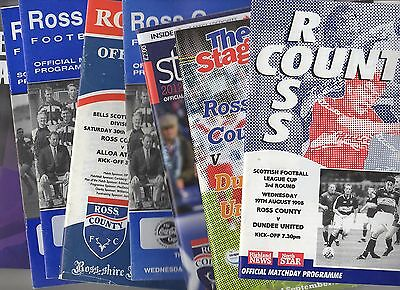 7 x ROSS COUNTY HOME Programmes 1994 - 2012 Listed 10