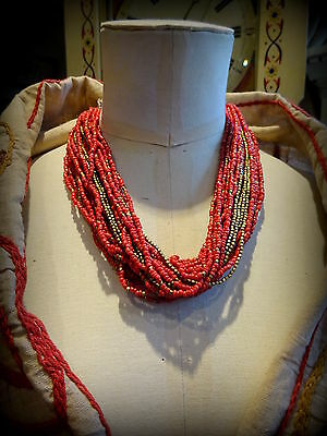 A Vintage  Ethnic Multi strand Coral Seed & Brass Bead Necklace
